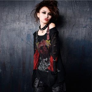 PUNK RAVE Gothic Mesh Top {SOLD}
